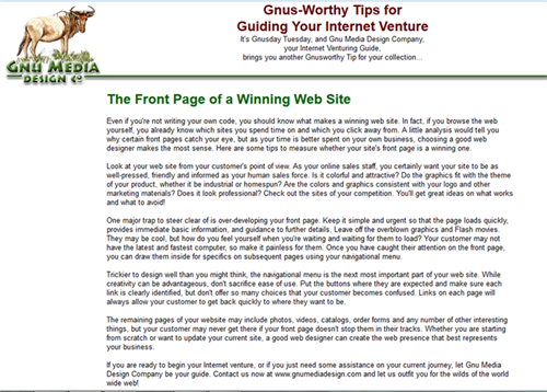 The Front Page of a Winning Web Site